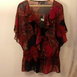 Jones New York NWT Navy and Pink Paisley Blouse